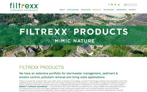Screenshot of Products Page filtrexx.com - Filtrexx Products, Stormwater Management, Sediment & Erosion Control, Pollutant Removal - captured Aug. 19, 2017