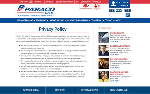 Screenshot of Privacy Page paracogas.com - Privacy Policy | Paraco Gas - captured Oct. 20, 2016