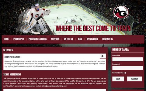 Screenshot of Services Page alexandergoaltending.com - Alexander Goaltending, Coach's Training, Skills Assessment, Scouting Services - captured July 25, 2016