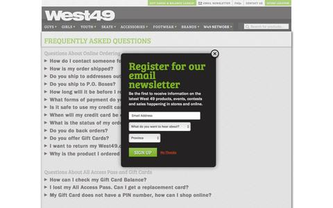 Screenshot of FAQ Page west49.com - FAQs   West 49 - captured Aug. 13, 2016