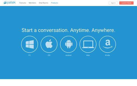 Screenshot of Products Page paltalk.com - Live Chat Anytime Anywhere | Paltalk - captured Nov. 17, 2015