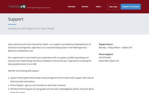 Screenshot of Support Page inquisiq.com - Support | Inquisiq LMS - captured Sept. 23, 2016