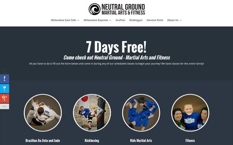 Screenshot of Trial Page wisconsinbjj.com - 7 Day Free Trial - Neutral Ground Martial Arts and Fitness - captured Dec. 3, 2016