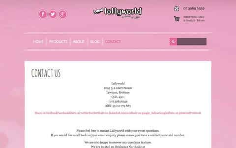 Screenshot of Contact Page lollyworld.com.au - Contact - Lollyworld - captured Oct. 28, 2014