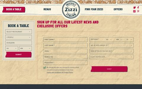 Screenshot of Signup Page zizzi.co.uk - Zizzi - captured Oct. 1, 2016