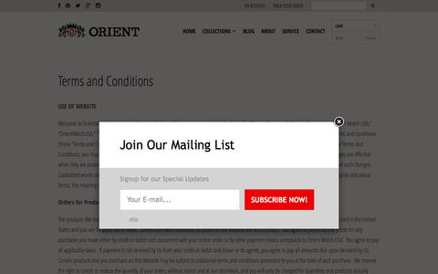 Screenshot of Terms Page orientwatchusa.com - Terms and Conditions - Orient Watch USA - captured Sept. 9, 2016