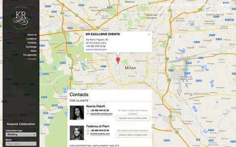 Screenshot of Contact Page kr-events.com - Contacts - captured Sept. 30, 2014