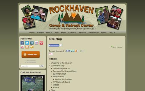 Screenshot of Site Map Page rockhavencamp.org - Site Map | Rockhaven Camp and Retreat Center - captured Oct. 26, 2014