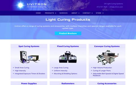 Screenshot of Products Page uvitron.com - UV Light Curing Products - captured Oct. 18, 2018