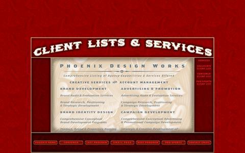 Screenshot of Services Page phoenixdesignworks.com - Phoenix Design Works - Services - captured Dec. 9, 2015