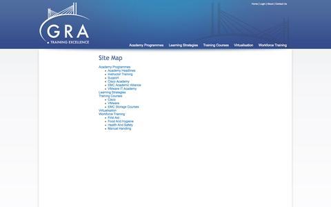 Screenshot of Site Map Page gratraining.co.uk - Site Map | Academy Programmes | Essex | GRA Training - captured Sept. 27, 2014
