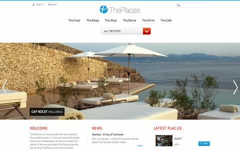 Screenshot of Home Page Privacy Page Terms Page theplac.es - Travel Guide - Best Restaurants, Hotels, Shops, Bars and Clubs around the globe - captured Oct. 7, 2014