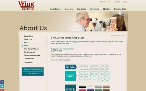 Screenshot of Press Page wingeyecare.com - Wing Eyecare News & Information - captured Jan. 13, 2016