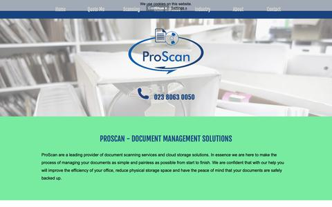Screenshot of Home Page proscan-imaging.co.uk - ProScan - Document Scanning Services : Document Scanning and Cloud Storage Services - captured Sept. 30, 2018