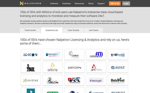 Screenshot of Testimonials Page nalpeiron.com - Nalpeiron's Software Licensing Customers - captured Feb. 12, 2017