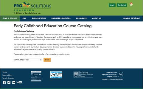 Screenshot of Menu Page prosolutionstraining.com - ECE Courses-Select Your State - ProSolutions Training - captured July 22, 2018
