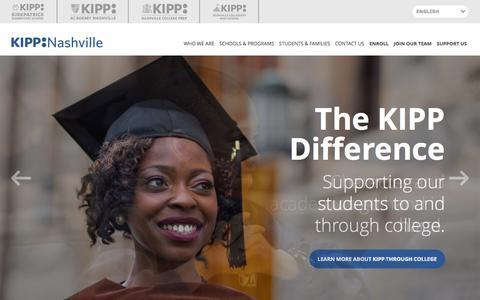 Screenshot of Home Page kippnashville.org - Home - KIPP Nashville - captured Jan. 9, 2016