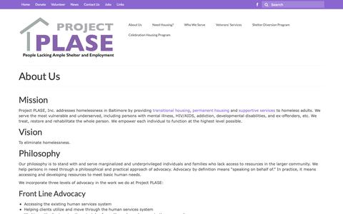 Screenshot of About Page projectplase.org - About Us | Project PLASE, Inc. - captured Sept. 30, 2018