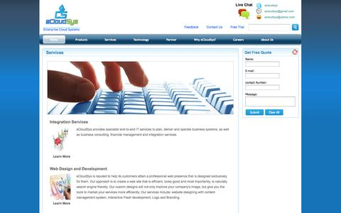 Screenshot of Services Page ecloudsys.com - Services - captured Oct. 2, 2014
