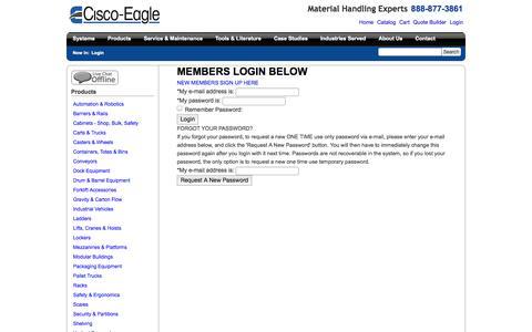 Screenshot of Login Page cisco-eagle.com - Cisco-Eagle Catalog - captured Sept. 19, 2014