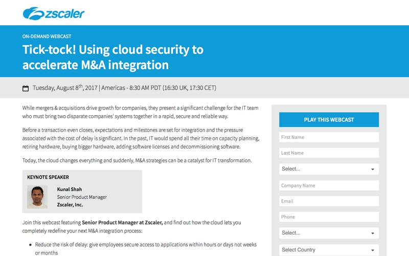 Cloud security to accelerate M&A   Zscaler