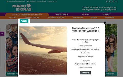 Screenshot of Home Page mundoidiomas.com - Cursos de idiomas en el extranjero | Mundoidiomas - captured Jan. 14, 2019
