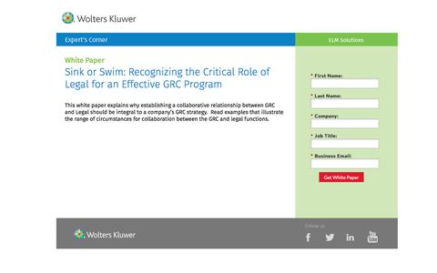 Screenshot of Landing Page datacert.com - White Paper: Recognizing the Critical Role of Legal for an Effective GRC Program - captured Aug. 17, 2016