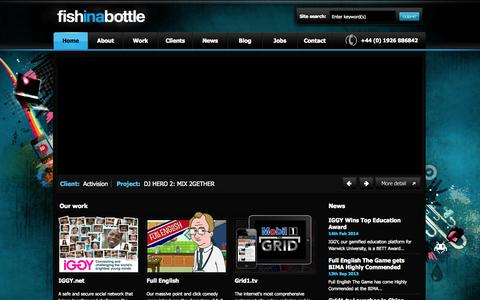 Screenshot of Home Page fishinabottle.com - fish in a bottle - Creative Digital Agency - captured Sept. 30, 2014