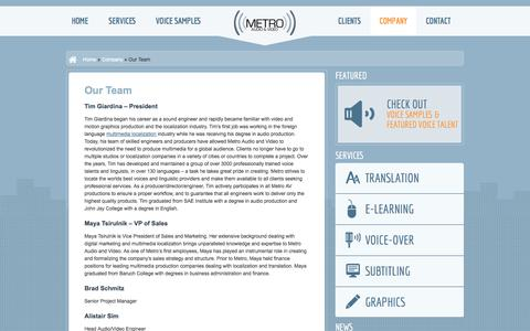Screenshot of Team Page metroavonline.com - Our Team | Metro Audio and Video Translation Agency - captured Oct. 27, 2014