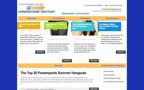 Screenshot of Blog powerstridebattery.com - Battery Industry News and Information | The Battery Genius - captured Sept. 30, 2014