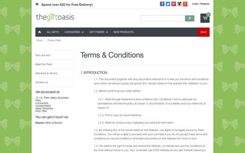 Screenshot of Terms Page thegiftoasis.com - The Gift Oasis | Terms and Conditions (the boring stuff) - captured Oct. 30, 2017