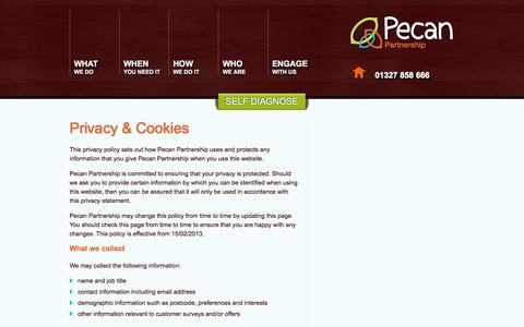 Screenshot of Privacy Page pecanpartnership.co.uk - Culture Change Consultants :  Pecan Partnership Deliver Customer and Colleague Advocacy | PrivacyCulture Change Consultants, Change Agency, Business Change. - captured Sept. 29, 2014