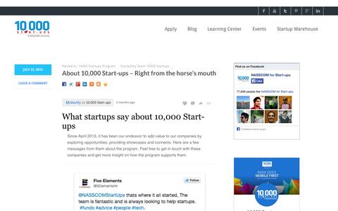 Screenshot of Testimonials Page 10000startups.com - About 10,000 Start-ups – Right from the horse's mouth | 10000startups - captured Sept. 18, 2014