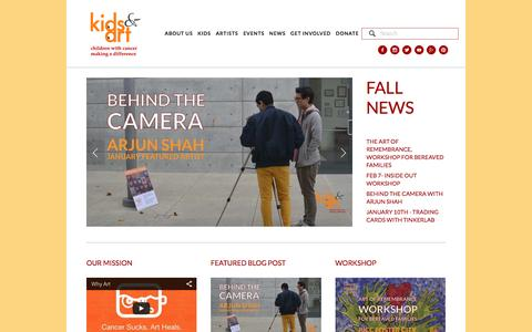 Screenshot of Home Page kidsandart.org - Kids and Art Foundation - captured Feb. 12, 2016