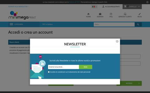 Screenshot of Login Page minimegaprint.com - Accesso Cliente - captured June 19, 2017
