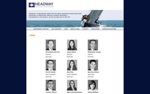 Screenshot of Team Page headwaycap.com - Headway Capital - captured Jan. 27, 2016