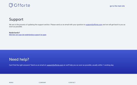 Screenshot of Support Page offorte.com - Offorte support - captured June 16, 2017