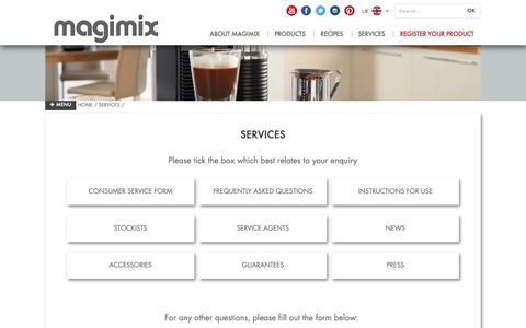 Screenshot of Services Page magimix.co.uk - Services - captured Dec. 6, 2018