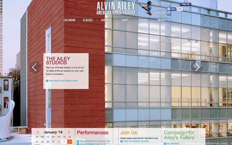 Screenshot of Home Page alvinailey.org - Alvin Ailey Homepage | Alvin Ailey American Dance Theater - captured Jan. 18, 2016