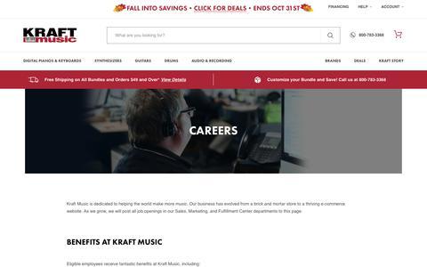 Screenshot of Jobs Page kraftmusic.com - Careers | KraftMusic.com - captured Oct. 14, 2018