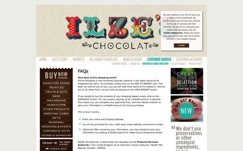 Screenshot of FAQ Page ilzeschocolat.com - Ilze's Chocolat - FAQs - captured Sept. 30, 2014