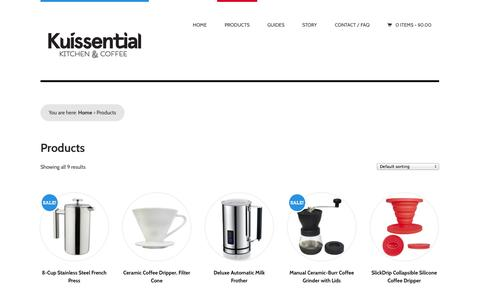 Screenshot of Products Page kuissential.com - Products Archive - Kuissential - captured Oct. 28, 2014
