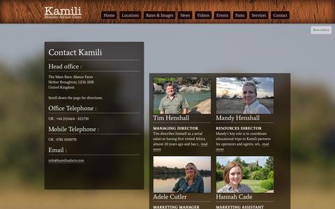 Screenshot of Contact Page kamilisafaris.com - Contact - Kamili Safaris - captured Oct. 6, 2014