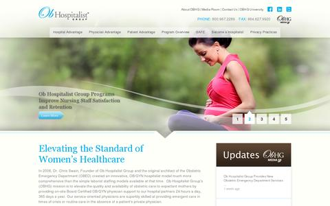 Screenshot of Home Page obhg.com - Ob Hospitalist Group | The industry's leading provider of OB/GYN hospitalist services - captured July 11, 2014