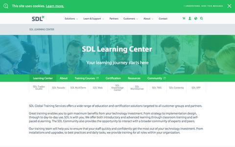 Screenshot of sdl.com - SDL Learning Center  | SDL - captured Dec. 24, 2016