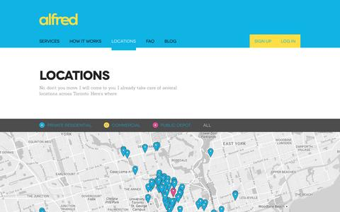 Screenshot of Locations Page alfredservice.com - Alfred  | Locations - captured Nov. 20, 2016