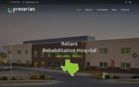 Screenshot of Home Page prevarian.com - Prevarian - Healthcare Real Estate Development - captured Oct. 18, 2017