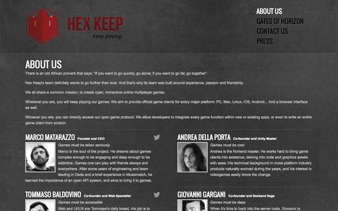 Screenshot of About Page hexkeep.com - About Us - Hex Keep - captured Sept. 30, 2014