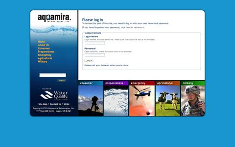 Screenshot of Login Page aquamira.com - Aquamira Water Treatment Products         —         Aquamira Water Treatment Products - captured Sept. 19, 2014