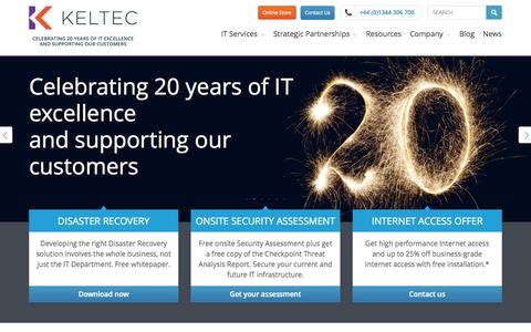 Screenshot of Home Page keltec.co.uk - IT Services, IT procurement services and managed support services - captured Sept. 30, 2014